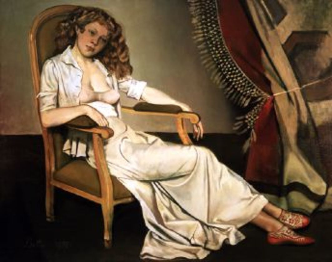Balthus, La Jupe blanche (The white skirt), 1937, oil on canvas, 51 1/4 x 63 3/4""