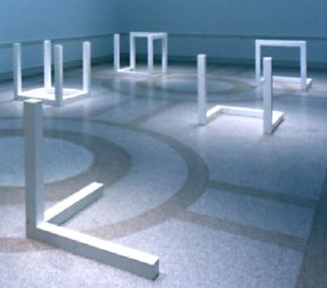 "Sol LeWitt, ""Variations of Incomplete Open Cubes,"" 1974, painted aluminum."