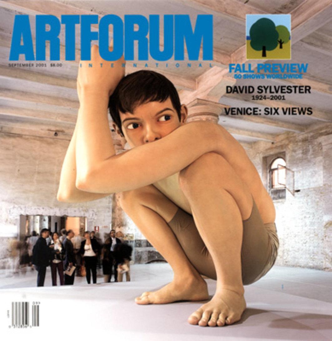 "Cover: Ron Mueck, Untitled (boy), 1999–2001, mixed media with fiber-glass resin, 16 x 16 x 16'. Photo: Thorsten Arendt/artdoc.de. Inset: Julian Opie, Landscape ? 3, 1998, acrylic on vinyl and aluminum, 7' 10 1/2"" x 11' 1/2""."