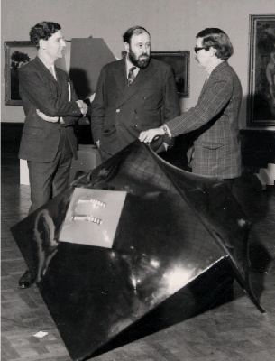 Alan Bowness, David Sylvester, and Hubert Dalwood judging the Northern Sculptors Exhibition, 1967.