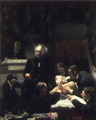 "Thomas Eakins, The Gross Clinic, 1875, oil on canvas, 96 x 78 1/2""."
