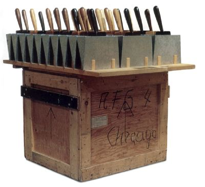 "H.C. Westermann, 30 Dust Pans, 1972, various woods, galvanized sheet metal, and brass, 46 x 45 x 32 3/4""."