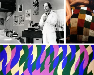 "Clockwise from top left: Ed Ruscha, Miracle, 1975, film still. Jimmy (Jim Ganzer). Jeff Burton, Untitled #48 (afghan), 1997, color photograph, 60 x 40"". Bridget Riley, Evoe I, 1999–2000, oil on linen, 6' 4"" x 19' 1/4""."