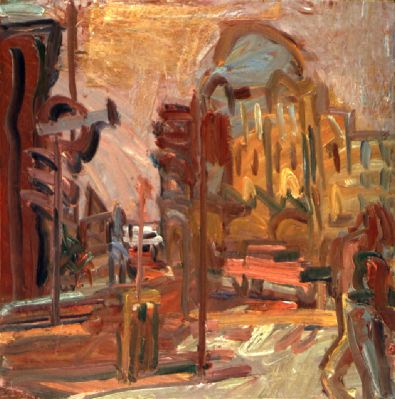 "Frank Auerbach, Camden Palace, Winter, 1999, oil on canvas, 50 1/4 x 50 1/2""."