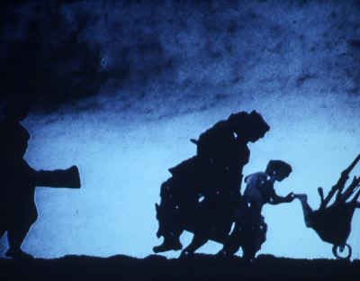 William Kentridge, Shadow Procession, 1999, still from a black-and-white 35 mm film, 7 minutes.