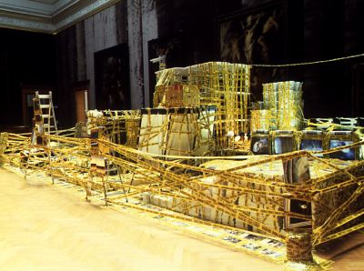 Thomas Hirschhorn, Ruben's Challenge, 2000, mixed media. Installation view, Musée Royal des Beaux-Arts, Anver, Belgium.