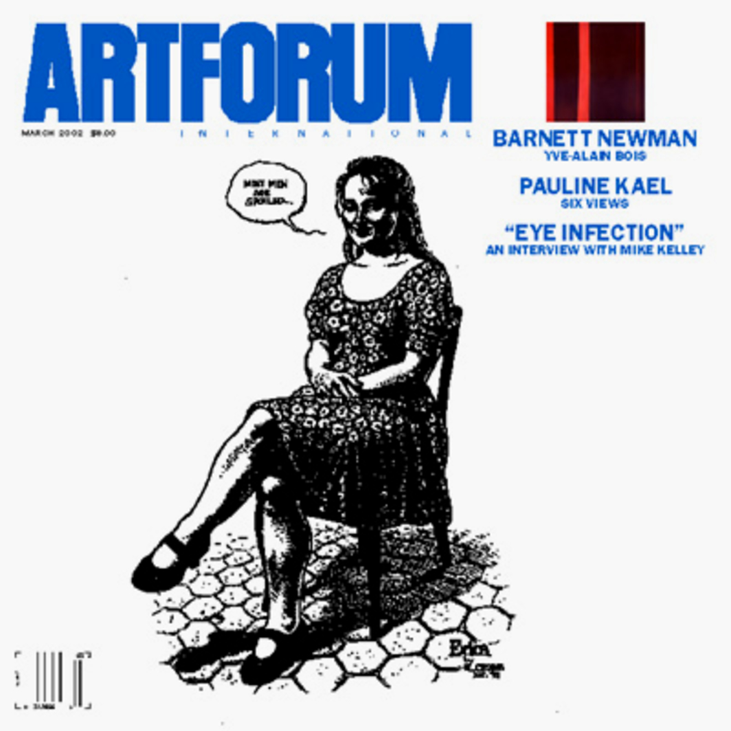 "Cover: R. Crumb, Erica, 1993, ink on paper, 11 1/4 x 8 1/4."" Inset: Barnett Newman, Adam (detail), 1951–52, oil on canvas, 95 5/8 x 79 5/8."""