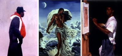 "From left: Dean Mitchell, Socrates, 2001, oil on canvas, 24 x 15 1/2"". Gerald Griffin, Black Venus, 2000, oil on canvas, 40 x 30"". Shamek Weddle, Self Portrait at Age 24, 2000, oil on canvas, 20 x 16""."