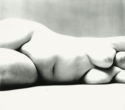 "Irving Penn, Nude No. 106, 1949–50, black-and-white photograph, 14 3/4 x 17 5/8""."