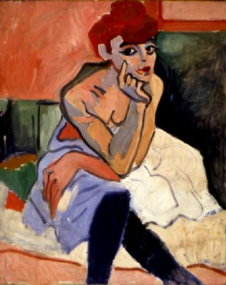 "André Derain, Woman in a Chemise, 1906, oil on canvas, 39 3/8 x 31 7/8""."