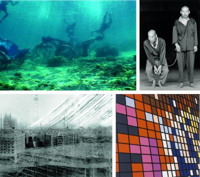 "Clockwise from top left: Jun Nguyen-Hatsushiba, Memorial Project Nha Trang, Vietnam. Towards the Complex. For the Courageous, the Curious, and the Cowards, 2001, still from a color video, 12 minutes. Chien-Chi Chang, The Chain (detail), 1998, installation with black-and-white photographs, each 61 3/4 x 41 3/4"". Sarah Morris, Midtown—Armitron (Madison Square Garden), 1999, house paint on canvas, 84 1/4 x 84 1/4"". Michael Wesely, 27.3.1997–13.12.1998 Potsdamer Platz, Berlin, 1997–98, color photograph, 68 7/8 x 78 3/4""."
