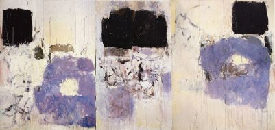 "Joan Mitchell, Clearing, 1973, oil on canvas, triptych, 9' 2 1/4"" x 19' 8""."