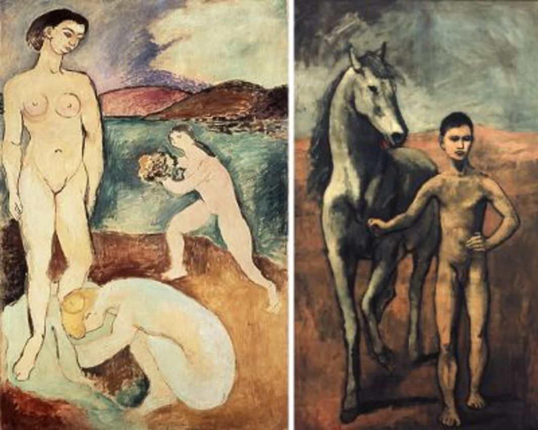 "Left: Henri Matisse, Le Luxe I, 1907, oil on canvas, 82 2/3 x 54 1/3"". Right: Pablo Picasso, Boy Leading a Horse, 1906, oil on canvas, 86 3/4 x 51 1/2""."