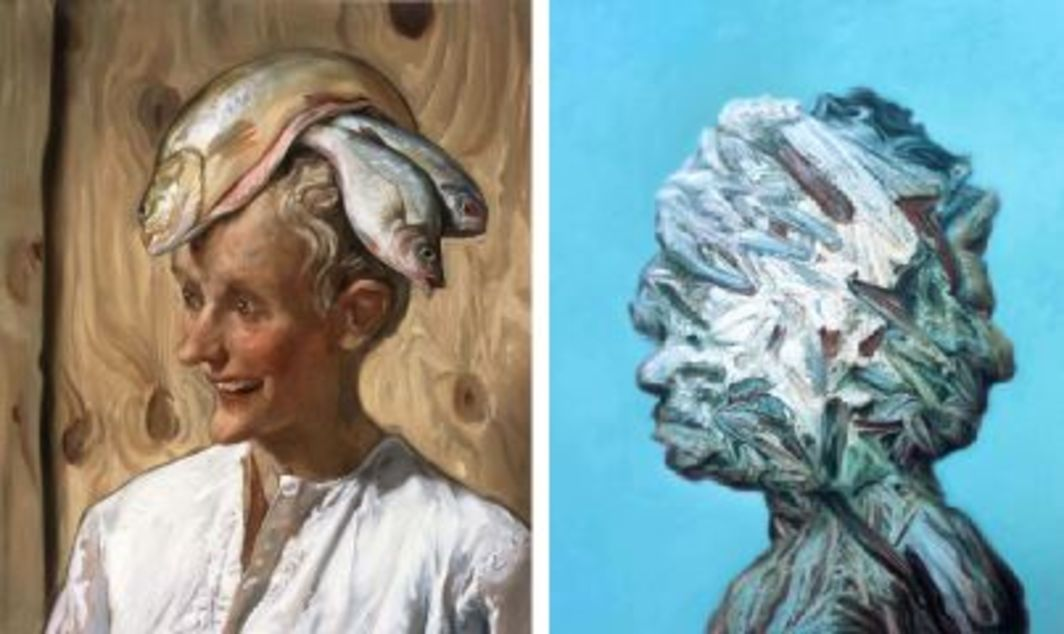 "Left: John Currin, The Moroccan, 2001, oil on canvas, 26 x 22"". Right: Glenn Brown, The Rebel, 2001, oil on panel, 33 1/4 x 27 1/2""."