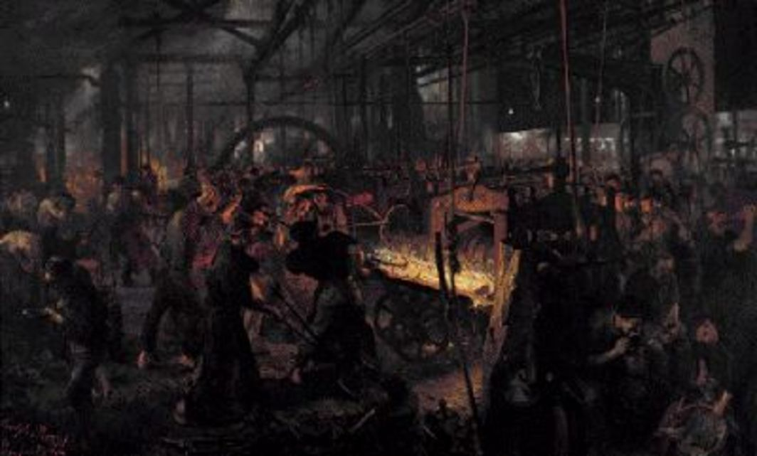 "Adolph Menzel, Iron Rolling Mill, 1872–75, oil on canvas, 62 3/16 x 100""."