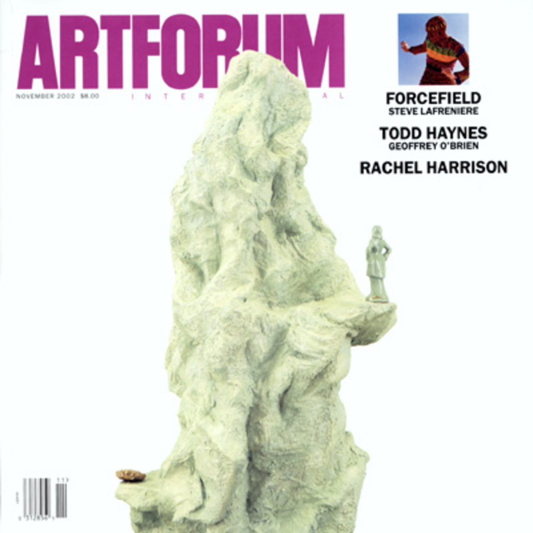 "Cover: Rachel Harrison, Utopia (detail), 2002, polystyrene, cement, Parex, acrylic, wood, ceramic figure, and pyrite, 84 x 40 x 38"". Photo: Oren Slor. Inset: Gorgon Radeo of Forcefield, October 2001. Photo: Hisham Akira Bharoocha."