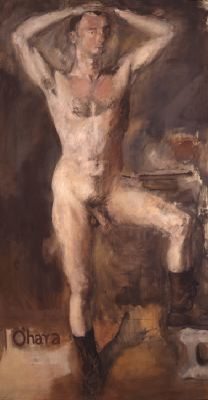 "Larry Rivers, O'Hara Nude with Boots, 1954, oil on canvas, 97 x 53""."