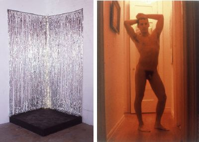 "Left: Jack Pierson, Silver Jackie, 1991, Mylar, painted wood, and Christmas lights. Installation view. Right: Jack Pierson, Untitled (male nude), 1993, color photograph, 40 x 30""."