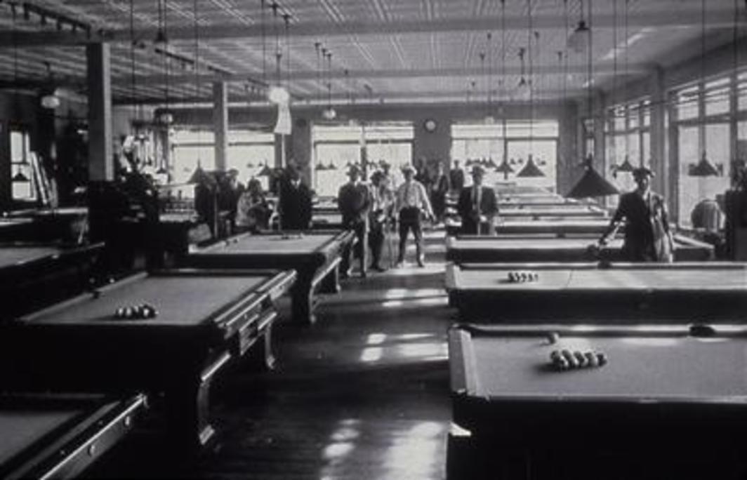 "James Van Der Zee, Billiard Room, n.d., black-and-white photograph, 11 x 14"". From ""The Challenge of the Modern."""