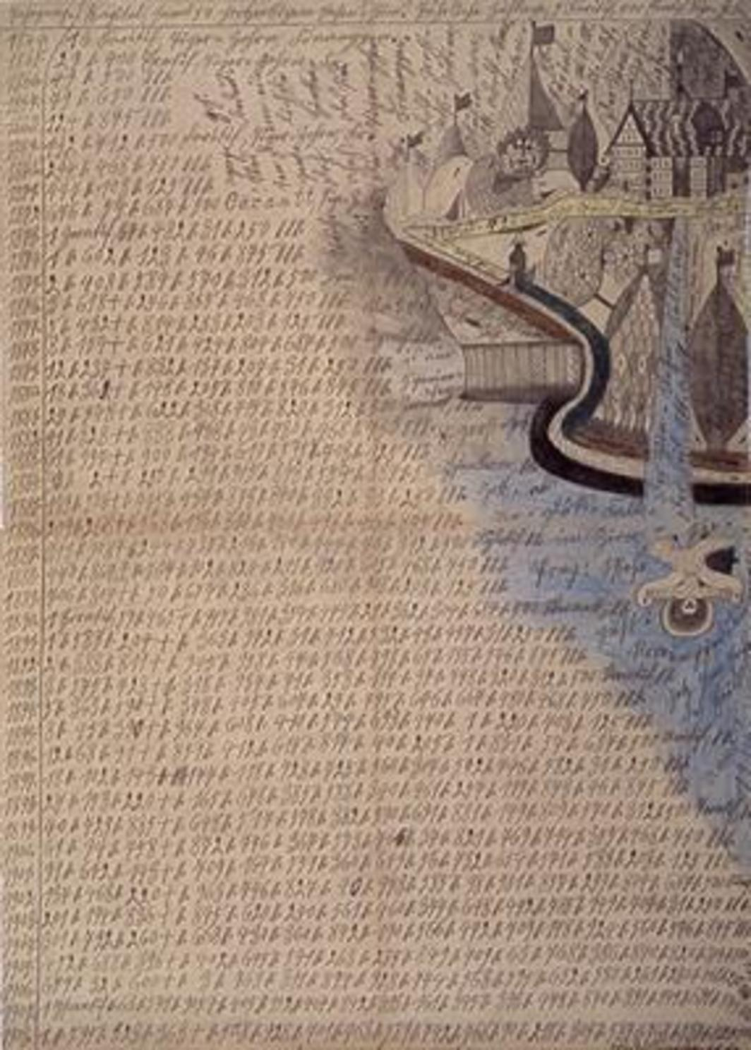 "Adolf Wölfli Der Zion-Wasser-Fall (The waterfall in Zion), 1914, pencil and colored pencil on newsprint, 39 1/2 x 28 1/4""."