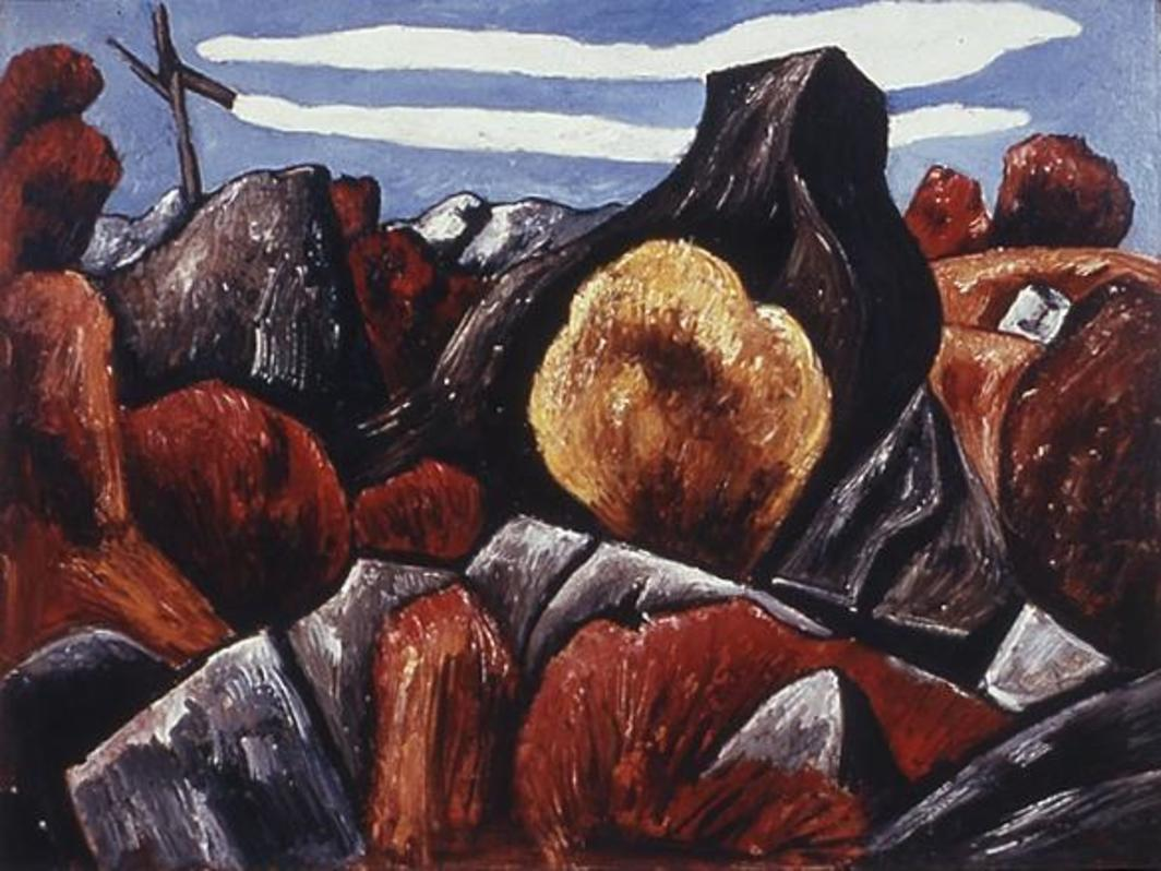 "Marsden Hartley, Mountains in Stone, Dogtown, 1931, oil on board, 18 x 24""."