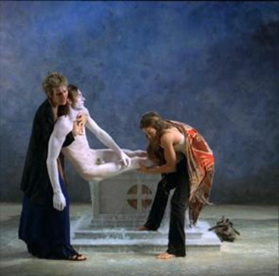 Bill Viola, Emergence, 2002, production still from a color video.