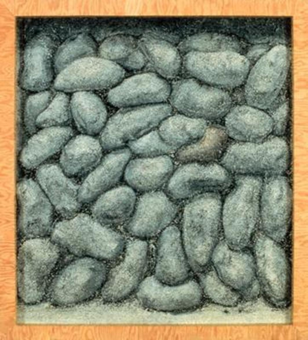 "Richard Artschwager, Untitled (Potatoes II), 1997, acrylic on Celotex, 37 x 34""."