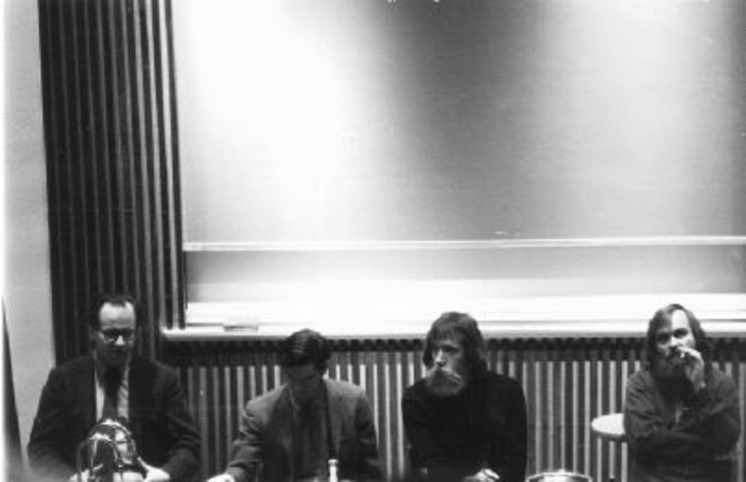 Robert Barry, Dan Graham, Lawrence Weiner, and Carl Andre at the Windham College Symposium, Putnam, Vermont, 1968.