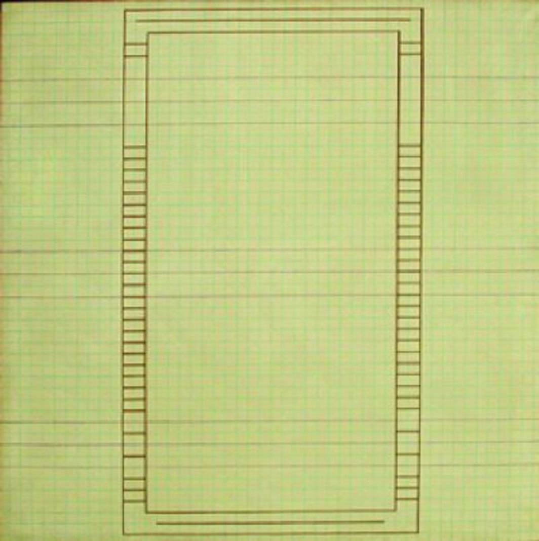 "Jo Baer, Graph-Paper Painting, 1962–63, oil on canvas, 36 x 36""."