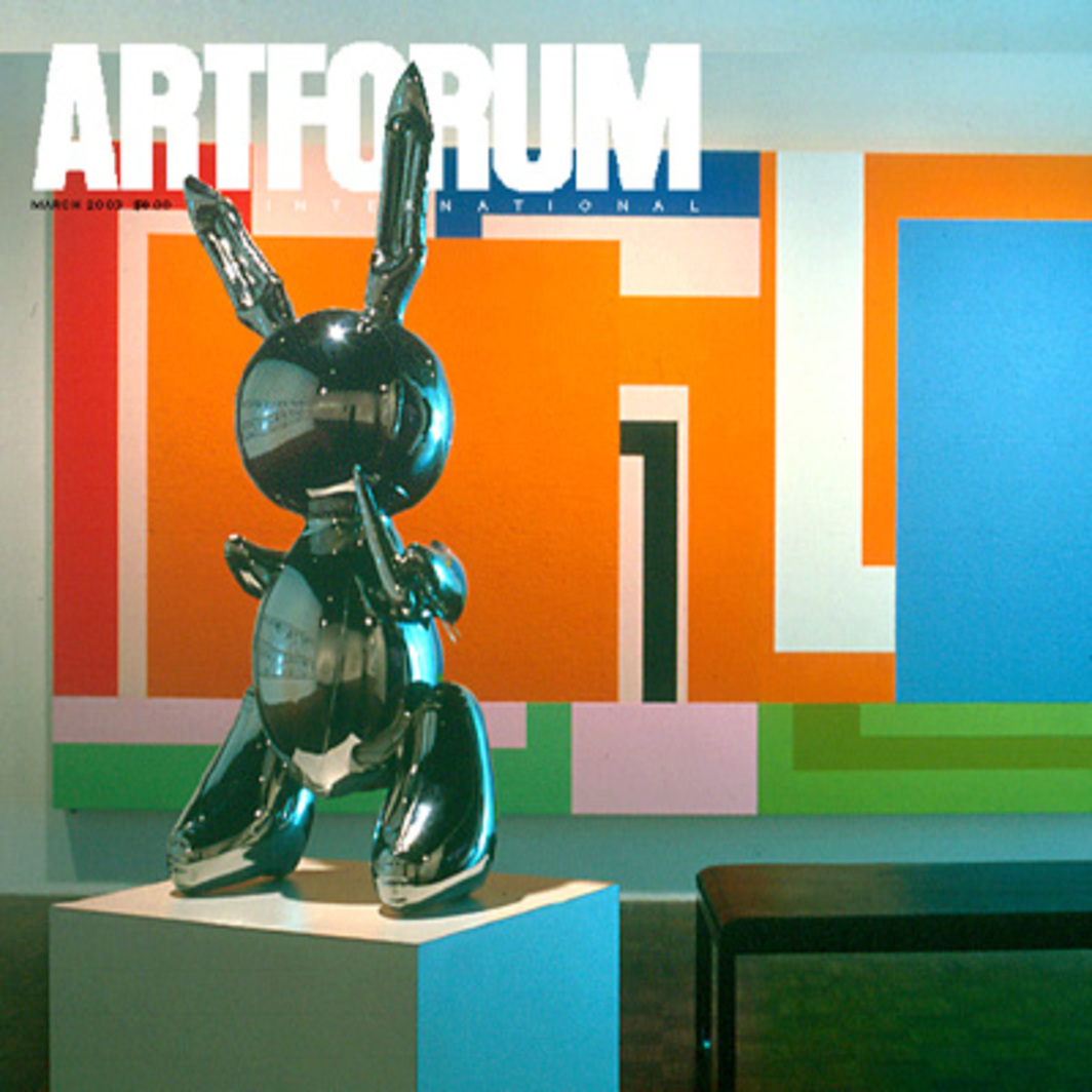 "Cover: Louise Lawler, (bunny) Sculpture and Painting (detail), 1999, color photograph, 47 1/2 x 66"". Jeff Koons's Rabbit, 1986, and Peter Halley's The Acid Test, 1992, in ""The American Century"" at the Whitney Museum of American Art, 1999."