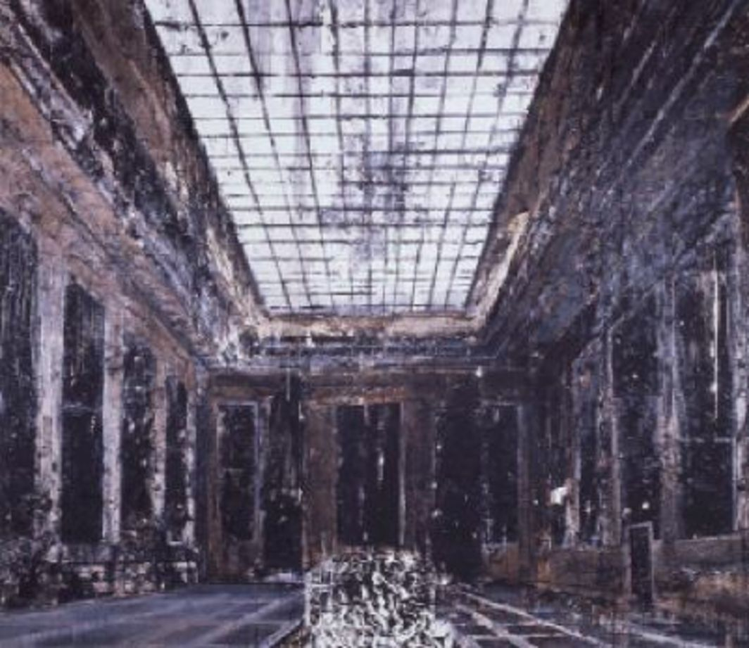"Anselm Kiefer, Innenraum (Interior space), 1981,  oil, acrylic, shellac, and emulsion on canvas, 9' 5"" x 10' 2 3/8""."