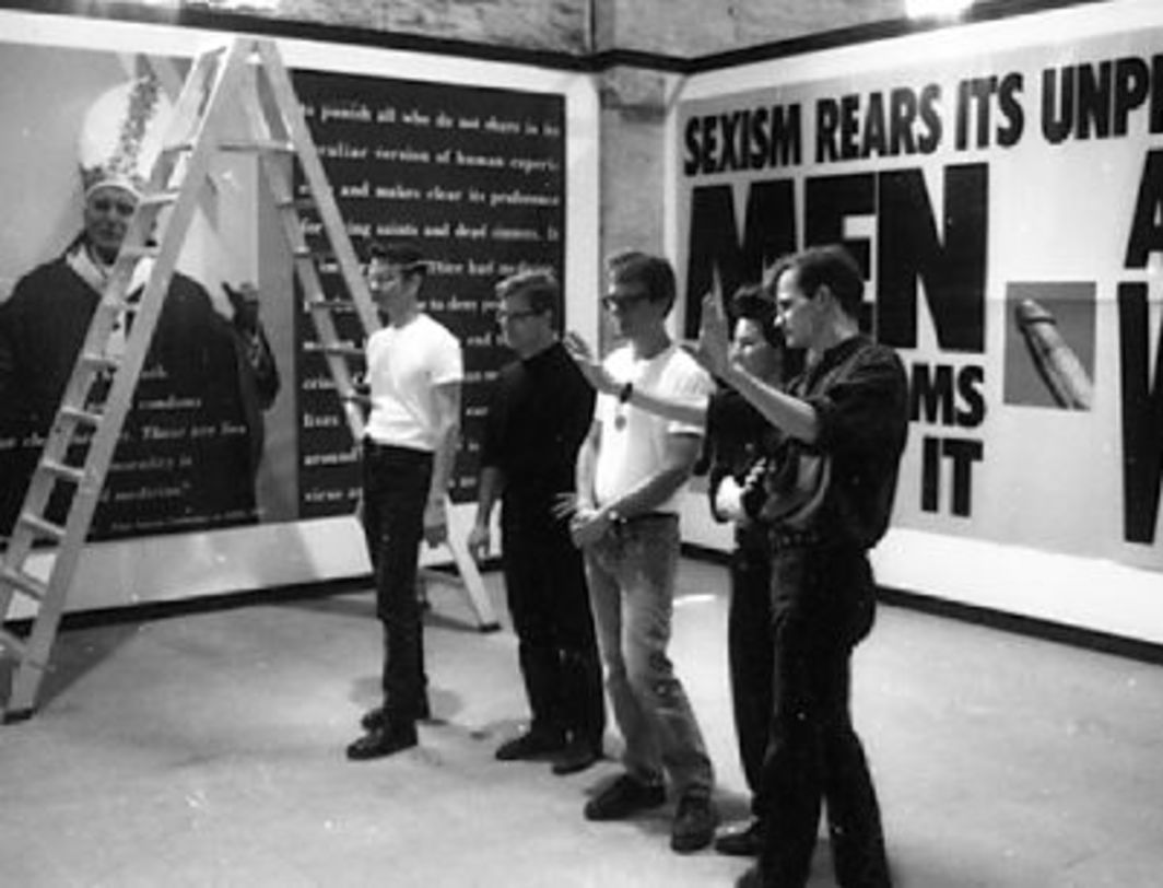 Gran Fury with The Pope and the Penis at the Venice Biennale, 1990. (Left to right: John Lindell, Donald Moffett, Mark Simpson, Marlene McCarty, and Loring McAlpin).