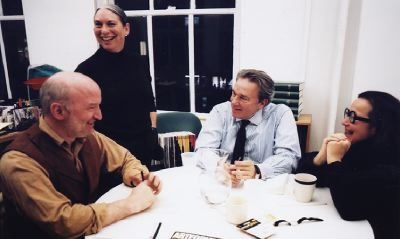 Left to right: David Frankel, Amy Baker Sandback, Anthony Korner, and Ingrid Sischy, 2003. Photo: Lilian Haidar.