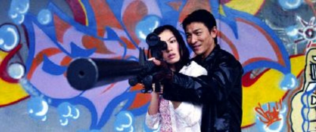 Johnnie To, Fulltime Killer, still from a color film in 35 mm, 102 minutes. Chin (Kelly Lin) and Tok (Andy Lau).