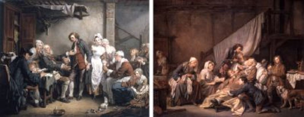"Left: Jean-Baptiste Greuze, L'Accordée de village (Marriage contract), 1761, oil on canvas, 35 x 461/2"". Right: Jean-Baptiste Greuze, La Piété filiale (Filial piety), 1763, oil on canvas, 45 1/4 x 57 1/2""."