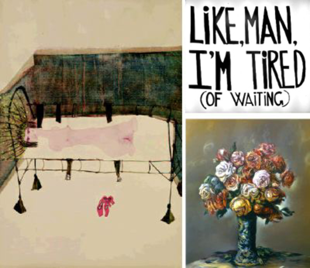 "Clockwise from top right: Sam Durant, Like, man, I'm tired of waiting, 2002, vinyl text on electric sign, 59 x 66"". Glenn Brown, Kill Yourself, 2002, oil on panel, 32 1/4 x 27"".  Carol Rama, Appasionata, 1941, watercolor on paper, 17 x 12 1/2"". All from ""Delays and Revolutions."""