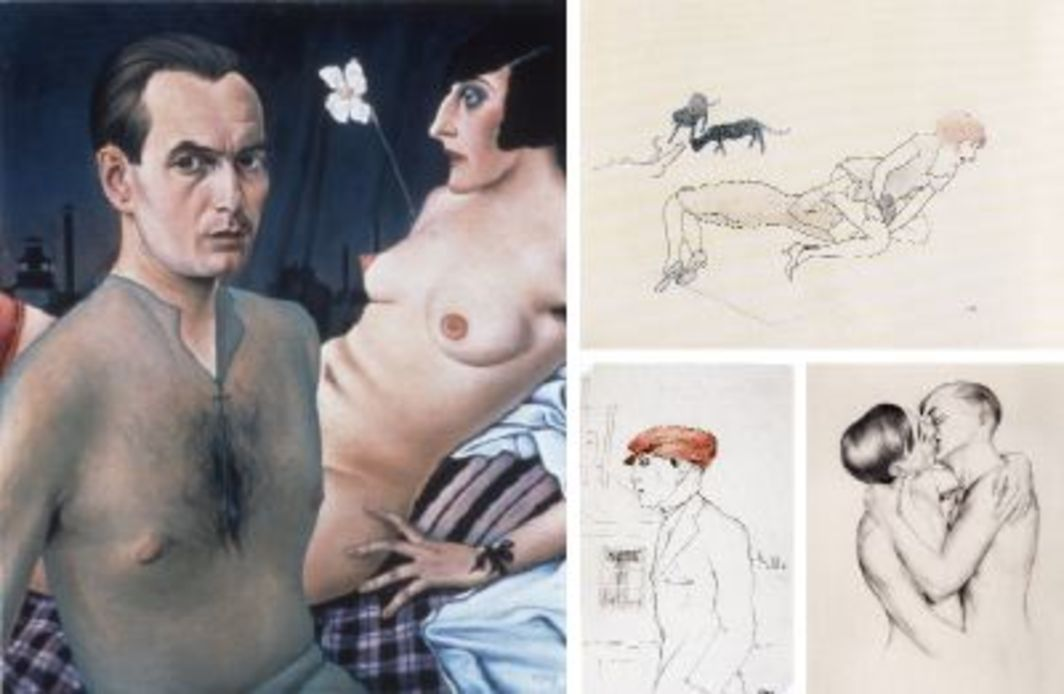 "Clockwise from left: Christian Schad, Selbstbildnis (Self-portrait), 1927, oil on wood, 29 7/8 x 24 1/4"". Christian Schad, Schwestern (Sisters), ca. 1929, pen and ink on paper, 7 1/8 x 10 