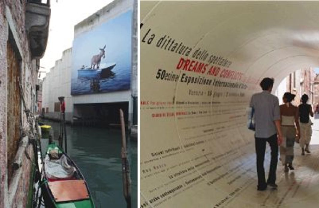 "Left to right: Paola Pivi, Untitled, 2003, ink-jet print on PVC, 3' 11"" x 4' 9"". Installation view, ""Interludes."" Photo: Thorsten Arendt/artdoc.de. Entrance to the 50th Venice Biennale. Photo: Thorsten Arendt."