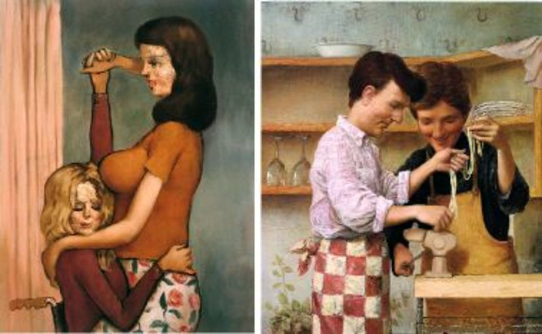 "Left to right: John Currin, The Invalids, 1997, oil on canvas, 48 x 36"". John Currin, Homemade Pasta, 1999, oil on canvas, 50 x 42""."