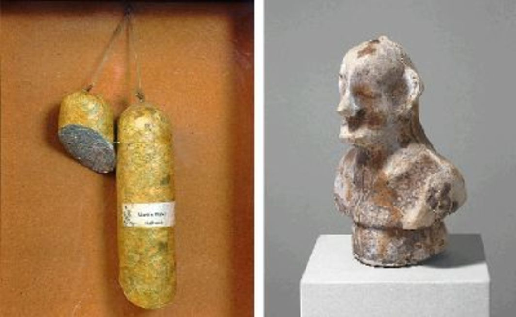 "Left to right: Dieter Roth, Literaturwurst (Martin Walser: ""Halbzeit"") (Literary sausage [Martin Walser: ""Half-time""]), 1961, shredded book and sausage ingredients, 20 5/8 x 16 3/4 x 4 3/4"". Dieter Roth, P.O.TH.A.A.VFB (Portrait of the Artist as Vogelfutterbüste), 1970, chocolate, 9 1/4 x 5 7/8 x 4""."