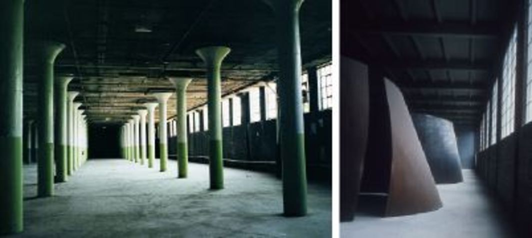 Left: Dia:Beacon, basement before renovation, 1999. Photo: Michael Govan. Right: Richard Serra, Torqued Ellipse II, 1996, and Double Torqued Ellipse, 1997. Installation view, Dia:Beacon, 2003. Photo: Florian Holzherr.