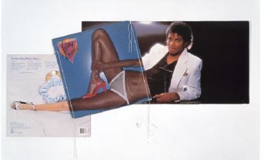 "Christian Marclay, Footstompin', 1991, album covers and thread, 17 1/4 x 36"". From the series ""Body Mix,"" 1991–92."