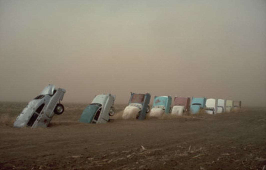 Cadillac Ranch: The Restoration, 1974/2002. Installation view, Amarillo, TX. Photo: Wyatt.