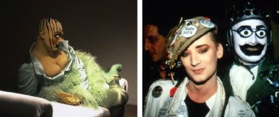Left: Leigh Bowery, untitled, 1988. Performance view, Anthony d'Offay Gallery, London, 1988. Right: Leigh Bowery and Boy George, The Fridge, London, 1987.