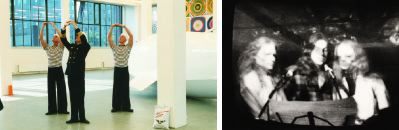 Left: Cosima von Bonin, Alles Roger Commander, 2001, still from a color video, 60 minutes. Right: Art & Language and the Red Krayola, Nine Gross and Conspicuous Errors, 1975, still from a black-and-white video, 25 minutes. Christine Kozlov, Kathryn Bigelow, and Paula Ramsden.