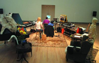 Top: Matmos, Work, Work, Work, 2003. Performance view (Drew Daniel at center), Yerba Buena Center for the Arts, San Francisco, 2003.