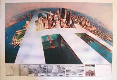 "Superstudio, The Continuous Monument: New New York, 1969, lithograph, 27 1/2 x 39 3/8""."