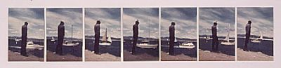 "John Baldessari, Goodbye to Boats (Sailing in), 1972–73, 7 color photo-graphs mounted on board, 14 1/4 x 53""."