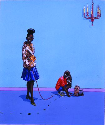 "Lamar Peterson, Mother and Son, 2004, acrylic and gouache on paper, 37 x 31 1/2""."