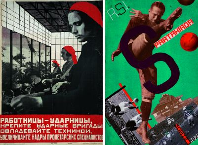 "Left: Valentina Kulagina, Female Shock-workers Strengthen the Shock Brigades, Master Technology, and Increase the Ranks of the Proletarian Specialists, 1931, lithograph, 39 3/8 x 28 5/16"". Right: Gustav Klutsis, design for a postcard for the All-Union Olympiad (Spartakiada), Moscow, 1928, photographs, paper, and gouache on paper, 8 x 5 1/2""."